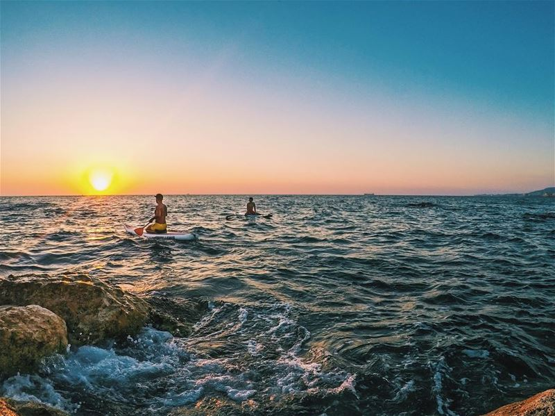 Off to the sunset  SUP livelovelebanon  livelovebeirut  livelovebatroun ... (Batroûn)